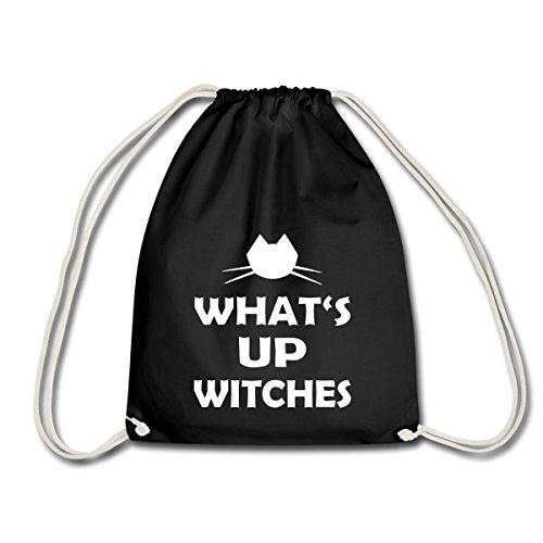 Spreadshirt Halloween Lustiger Spruch What's Up Witches Turnbeutel, Schwarz