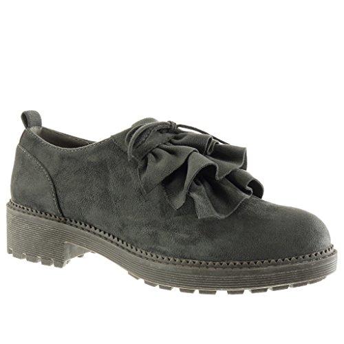 Angkorly Damen Schuhe Brogue Schuh - Plateauschuhe - Knoten Blockabsatz High Heel 4 cm Grau