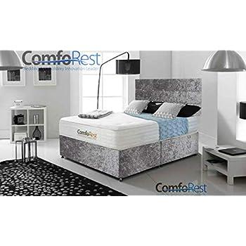 ComfoRest, Bedding & Upholstery Innovation Leader Cube Velvet Divan Bed Set (NO Drawers) (4FT6 Double, Grey Velvet)