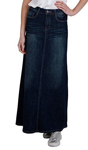 f054de6895 Cindy H Long Dark Wash Denim Skirt Womens Maxi Skirt UK 8-24 Full ...