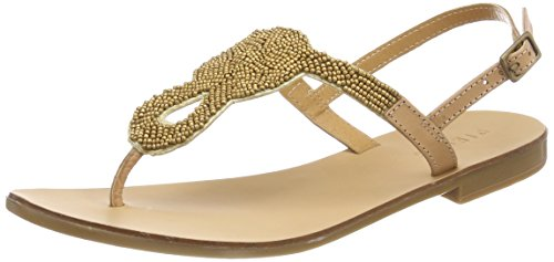 PIECES Pscarmen Leather Sandal, Infradito Donna Beige (Nude - Gold Beads)