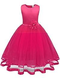 beb9b3d3b4c1e Bonjouree Robe Fille Princesse Tutu Tulle Robes de Mariage Soirée à Fleur