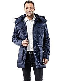 Vincenzo Boretti Abrigo de invierno con cuello levantado, capucha desmontable y cordón de cierre en la cintura