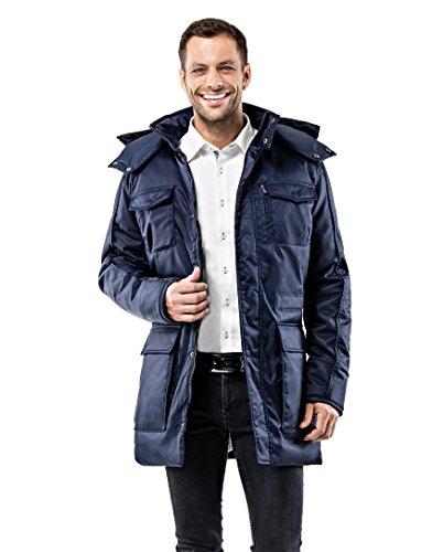 Vincenzo Boretti Herren Winter-Jacke dick warm gefüttert Parka kuschelig sportlich elegant Winter-Mantel slim-fit tailliert lang für Outdoor Business mit Steh-Kragen und Kapuze dunkelblau S (Herren Kragen Mantel)