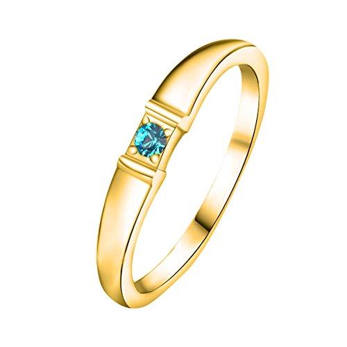 Quiges Damen Personalisiert Gravur Name Solitär Ring 18 Karat Gold 925 Sterling Silber Zirkonia Geburtsstein Ringgröße 61