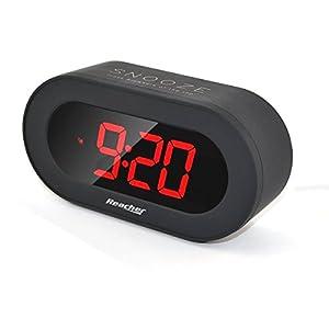 Reacher Led Digital Alarm Clocks with USB Charging Ports Snooze Easy Setting Mains Powered for Desk Bedside Bedroom Smart phone Tablet iPad(Black)