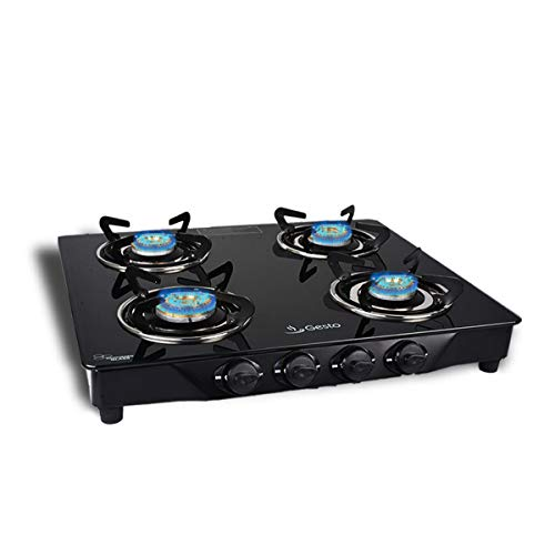 Gesto 4 Burner Vista Gas Stove Stainless Steel.5 years Warranty on Brass Burners.Door Step Service At Home.Save 15% LPG Its Challenged.