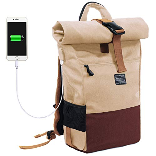 EverVanz Zaino per Computer Portatile, Arrotolatile Resistente all'Acqua, Zaino da Viaggio ed Escursione, Borsa Leggera Casual, Elegante Adatta per la Scuola con Porta di Ricarica USB