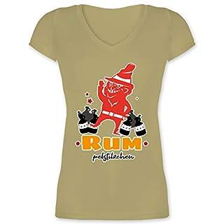 Sprüche - Rum pelstilzchen - XS - Olivgrün - XO1525 - Damen T-Shirt mit V-Ausschnitt