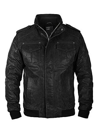 SOLID Cash - Veste en cuir véritable- Homme, taille:XL, couleur:Black (9000)