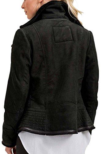 trueprodigy Casual Femme veste en cuir, vetements swag marque vintage (sportif & slim fit classic), véritable blouson de cuir mode fashion Couleur: noir 3773502-2999 Black