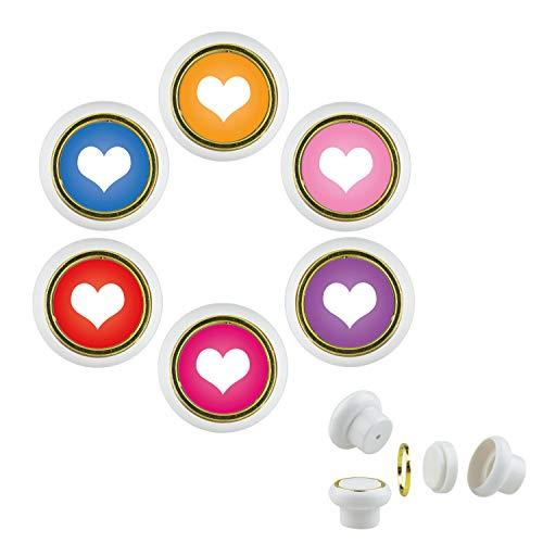 KST01 Lot de 6 boutons de meuble en plastique pour meuble Motif cœur Multicolore Petit bouton de meuble universel pour placard, tiroir, commode, porte, cuisine, salle de bain, ménage enfant