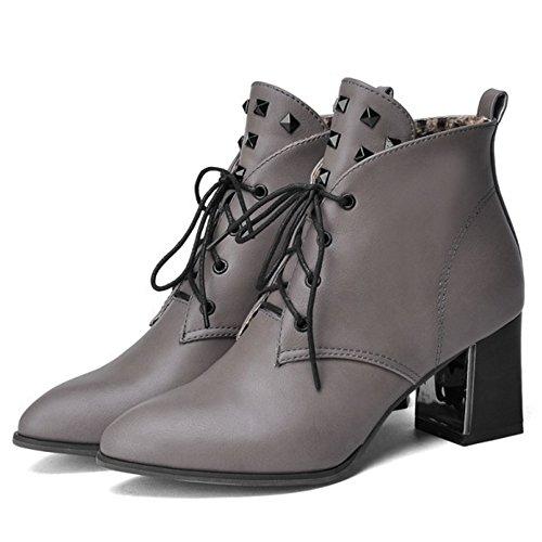 COOLCEPT Femmes Western Lacets Bloc Bottes Cheville Grey