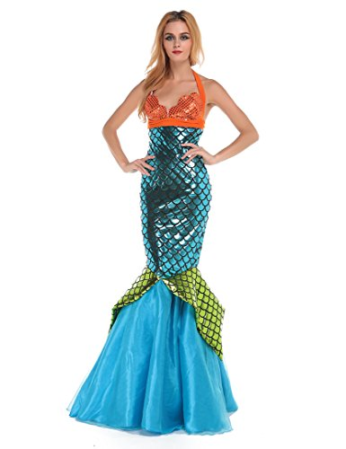 Halloween glänzend metallisch Mermaid Kostüm Party Kleid (Orange + blue light)