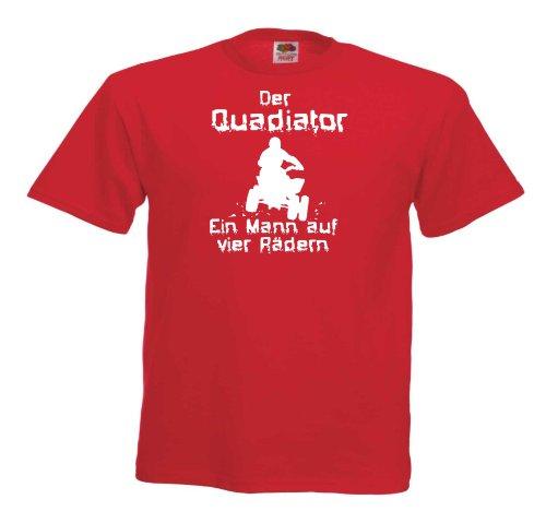 Quadiator-Ein Mann T87 Unisex T-Shirt Textilfarbe: rot, Druckfarbe: weiß