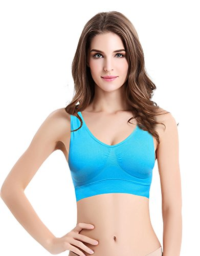 Wirarpa Femme Soutien-Gorge Sport Yoga Bandeau Sans Armature Bra Lingerie Bleu