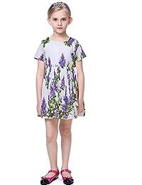1abb515c1f2f0 Yilaku Robe Fille Pourpre Rose Imprimé de Fleurs Partie Vêtements Enfants  Robe d'été 2