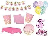 XXL Party Deko Set 3.Geburtstag Kindergeburtstag 54 teilig rosa/Gold Mädchen Party Geschirr Party Deko