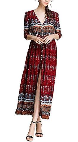 La Taille Des Robes Dété - KE1AIP Womens Boho V Neck Floral 3/4