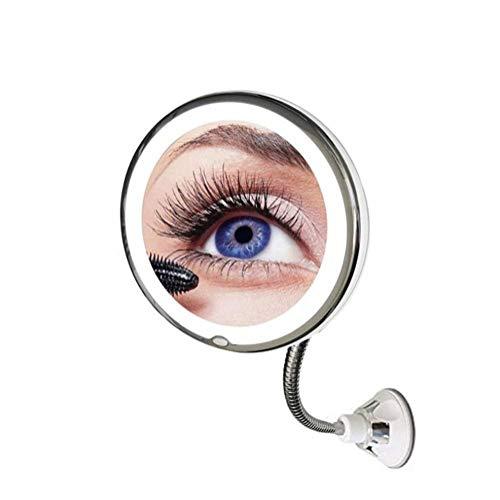 Vergrößerungs-Schminkspiegel mit Licht 7X oder 10X | Beleuchteter Vanity Badezimmerspiegel mit 360 Grad verstellbarem Saugnapf mit Schwanenhals Ideal für die Wandmontage ( größe : 10X Magnification ) - Schwanenhals Vanity Licht