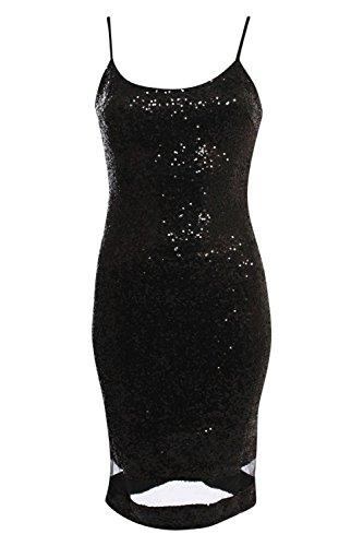 PILOT® veronica lanières Robe à paillettes détail panneau à mailles moulante Noir
