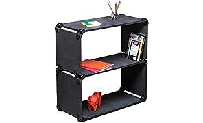 PlayWood kit multifuncional, banco en MDF componible y estantería de dos estantes, con kit de 16 conectores, 4 paneles rectangulares y 4 paneles cuadrados incluidos, Medidas 80x80x35cm (Negro)
