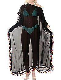 LA LEELA Pom Pom Donne Fuori dalla Spiaggia Spalla Abito Kimono Costumi da  Bagno Caftano Caftano 5fd557a767fc