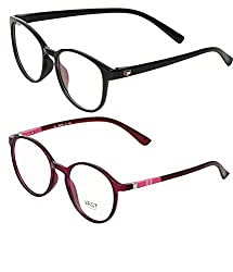 Vast Combo Of 2 Round UV Protection Full Rim Spectacle Frame Unisex Sunglasses (PURPPINK_BLK)