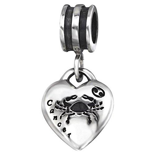 So Chic Joyas© Charm perla Pampille cáncer zodiaco signo del zodiaco plata 925-Compatible con Pandora, Biagi, Chamilia, Biagi