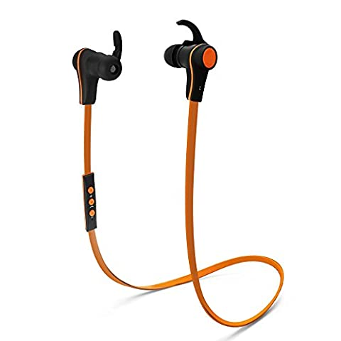 Bluetooth Sports Headset, Proxelle Bluetooth 4.0 Wireless Headphones Stereo Earbuds, Secure Fit for Sport, Gym with Built-in Mic [Orange]