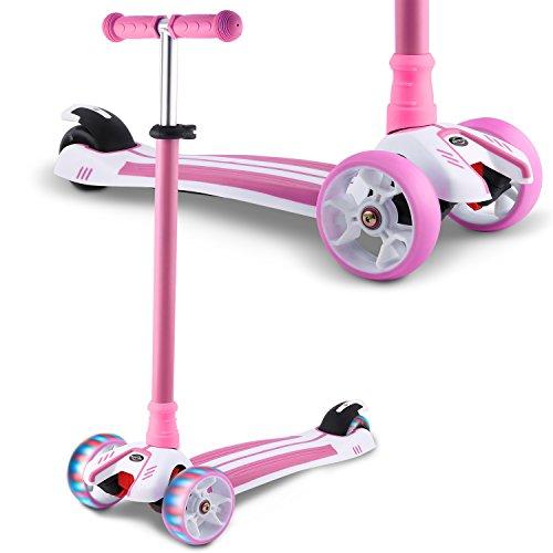 WeSkate Dreiradscooter für Kinder Kinderscooter mit PU LED Leuchten Räder und 3 Stufen Einstellbare Höhe Doppel-Hinterrad Big Wheel für Kinder 3-12 Jahre alt