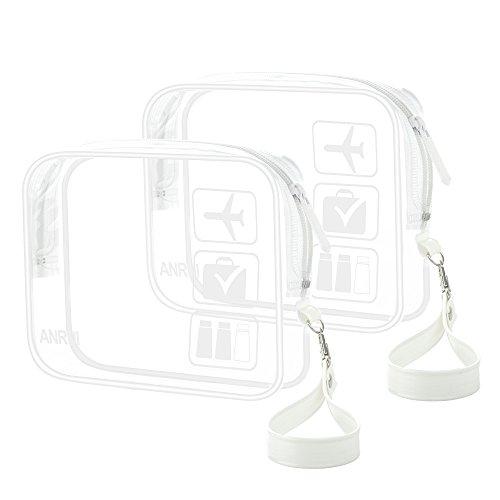 2 Teile/Paket ANRUI Kulturbeutel mit Gurt, TSA Genehmigt Weiter Flughafen Airline Konform Tasche Quart Größe 3-1-1 Kit Reisegepäck Beutel (Weiß)