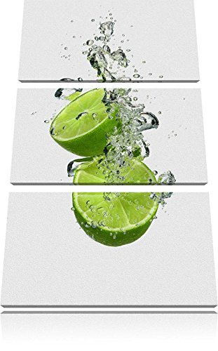 De délicieux citrons verts dans l'eau noir / blanc 3 pièces image toile 120x80 image sur toile, XXL énormes Photos complètement encadrées avec civière, art impression sur murale avec cadre, moins cher que la peinture ou une peinture à l'huile, pas une affiche ou une bannière,