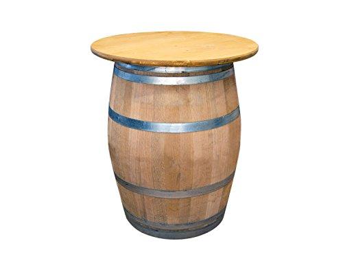 Temesso Weinfass als Stehtisch mit Tischplatte D 80 cm - Fass Natur (Eiche Lasur)