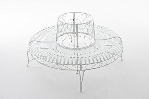 CLP 360° Metall Baum-Bank KAYDEN, Landhaus-Stil, rund Ø ca. 50 cm / 150 cm (innen/außen), Eisen lackiert, bis zu 6 Farben wählbar Weiß - 2