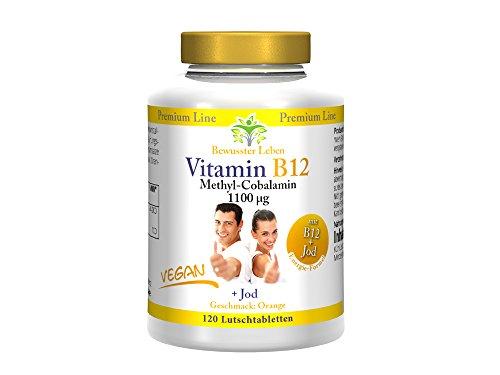 Biomenta VITAMINA B12 VEGANA - 1.100 µg Metilcobalamina + Yodo – 120 vegano Pastillas