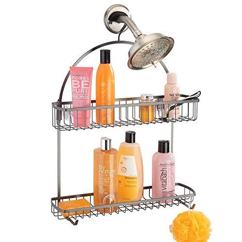 mDesign Duschkorb zum Hängen – hübsche Duschablage ohne Bohren – Duschregal aus Metall mit zwei Körben und zwei Haken für allerlei Duschzubehör – grau