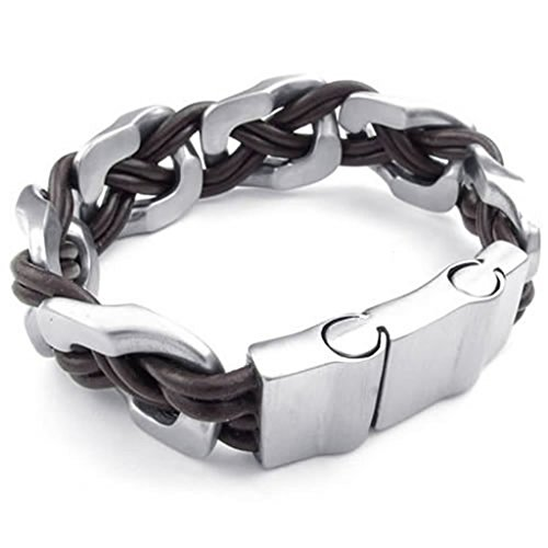men-stainless-steel-curb-bracelet-silver-brown-length-9-inches-bracelet-for-men-by-aienid