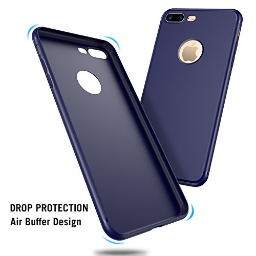 iPhone 7 Plus Hülle, RANVOO aus Soft Silikon Material Anti-Fingerabdruck Extra Dünn Case for iPhone 7 Plus Schwarz, [TENDER005] Blau