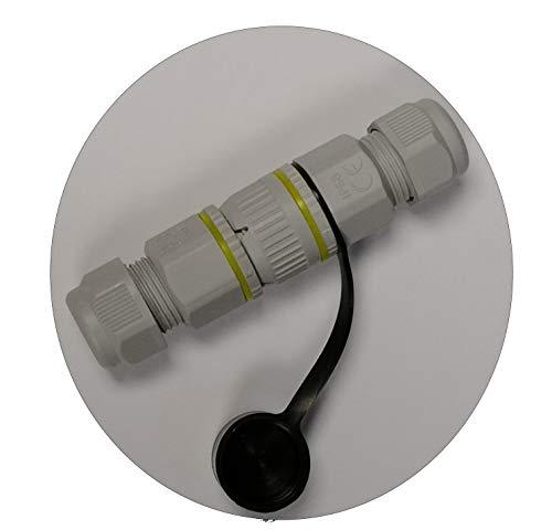 Outdoor-Steckverbindung, Stecker + Buchse, 5-polig, bis 12mm Kabeldurchmesser, IP68, codiert, mit Silikon-Schutzkappe für Steckerseite