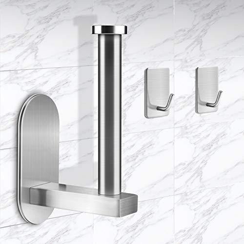 Toilettenpapierhalter ohne Bohren, Alcoon Klopapierhalter 304 Edelstahl Gebürstet Wandhalter Papierhalter Selbstklebend, für Badzimmer und Küche