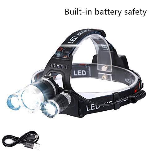 Lightess LED Stirnlampe USB Kopflampe Wiederaufladbar Wasserdicht für Angeln Laufen Joggen Jogging Campen Radfahren Outdoor Indoor LED Stirnlampen LED Kopflampen Kopfleuchten 3*XML-T6 LEDs 2000LM
