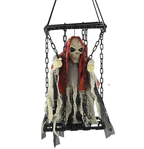 Tdhappy Halloween Spielzeug Schädel Horror Licht Geräusche Zittert Spukhäuser Requisiten Käfigen Die Gefangenen Die Käfige,des (Gefangener Skelett Halloween-prop)
