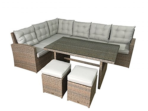 Garten lounge La Palma in Natur (Sitzecke mit Esstisch) Polyrattan Gartenmöbel von Jet-Line Essgruppe mit Tisch und Hocker