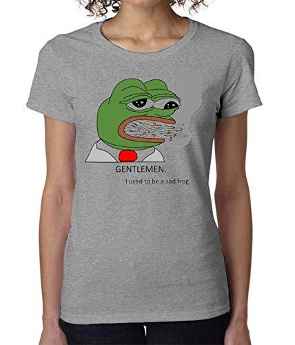 PasTomka Gentlemen I Used To Be A Sad Frog Pepe Smoking Women's T-Shirt  Camiseta Mujer Medium