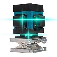 Línea láser autonivelante Nivel láser, luz verde 3D Línea 12 Instrumento de fijación Nivel de alta precisión Deslizamiento plano Azulejo de piso Instrumento de nivelación Línea de con control remoto