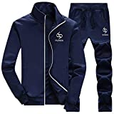JUTOO Herren Herbst Winter verdicken Sweatshirt Top Pants Sets Sport Anzug Trainingsanzug(Y2-Dunkelblau,XXX-Large)