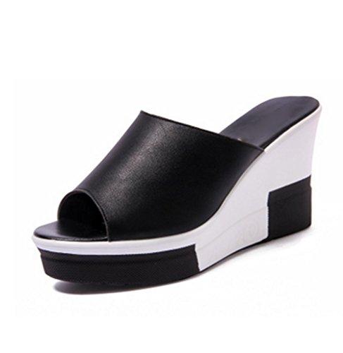 pengweiPendenti e pattini freddi calzano le scarpe casuali della spiaggia di estate di modo del tallone basso Black