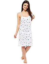 Womens Follow That Dream Cotton Strappy Chemise Nightshirt Heart Print or Stripe