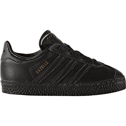 adidas Originals Gazelle I Black Leather Infant Trainers Nero (Negbas)